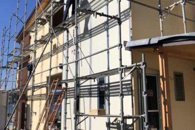 ライファ今治:外壁タイル工事1面は完了しました。