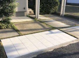 ライファ今治:駐車場の土間の砂利洗い出しからタイルにリフォーム。