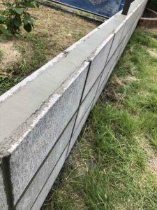 今治 ブロック積み上げ ブロックの上にフェンス設置 LIXILフェンス ブロック工事 境界ブロック ライファ今治